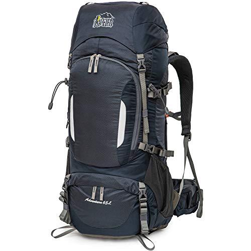 Aveler 65Liters/ 80Liters Unisex Lightweight Nylon Internal Frame Hiking Backpack with Rain Cover and Drawstring Backpack