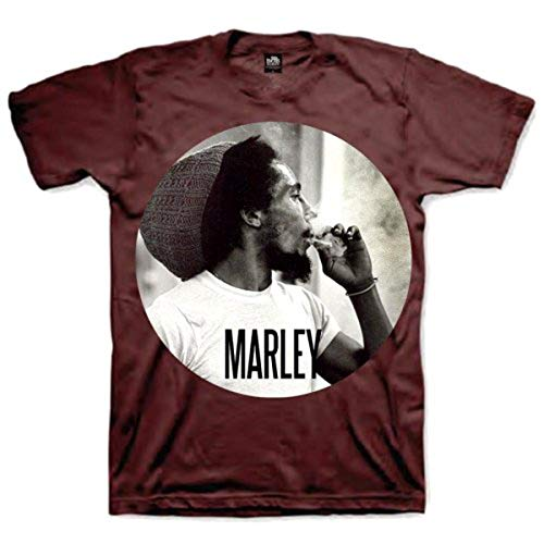 Bob Marley Herren, T-Shirt, Smokin Circle, GR. Medium (Herstellergröße: Medium), Rot (dark Red)