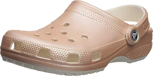 Crocs Unisex Men s and Women s Classic Sparkly Clog | Metallic and Glitter Shoes  Rose Gold  6 US