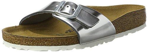 Birkenstock Classic Damen Madrid Leder Pantoletten, Silber (Metallic Silver), 39 EU