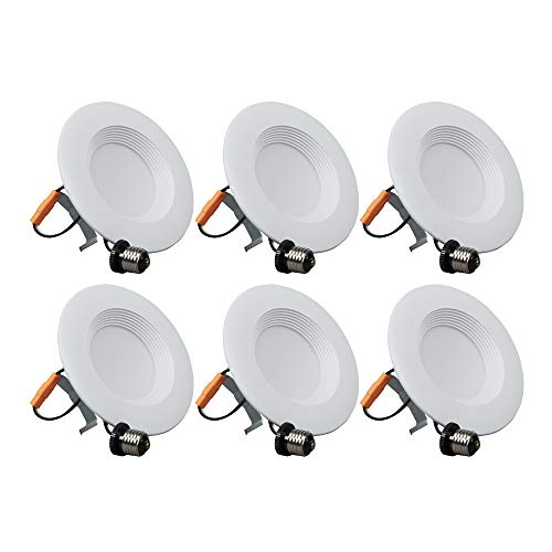 6 Pack, 5/6 inch led retrofit recessed Downlight dimmable 4000K, 650lumen, 10.5W=65W, Easy intallation, E26 Base, Baffle Trim, Energy Star & UL Listed