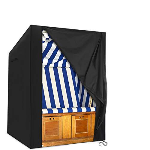 king do way Housse de protection pour fauteuil-cabine de plage 420D indéchirable en tissu Oxford pour fauteuil-cabine de plage, housse de protection étanche avec fermeture Velcro - 135 x 105 x 175/140 cm - Noir