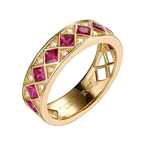 Adokiss Anillo de oro auténtico, anillo cuadrado de rubí de 1,179 quilates con diamante de 0,205 quilates, anillo de compromiso para mujer, oro, tamaño 47 (15,0) hasta 65 (20,7), amigo