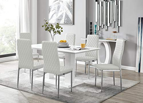 Imperia White High Gloss Dining Table Set And 6 White Milan Chrome Faux Leather Dining Chairs (6 White Chairs)