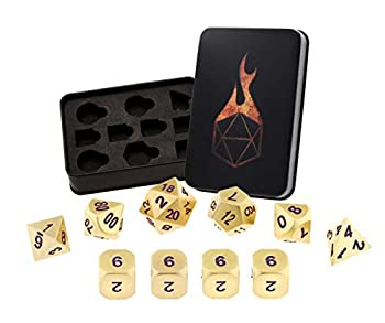 Forged Dice Co Metal Dice Set - Polyhedral Dice Set of 10 with Dice Storage Tin and Stickers - Metal DND Dice and Gaming Dice for Dungeons and Dragons RPG Games Royal Gold w/Purple Numbers