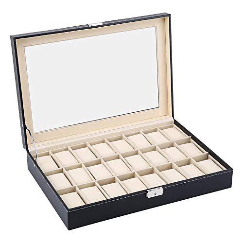 lahomie Caja de reloj con 24 rejillas, caja de almacenamiento para joyas, para anillos de viaje