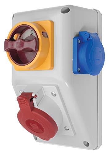 Stromverteiler / Baustromverteiler / Wandverteiler mit Wendeschalter für Rechts- und Linkslauf 1 x CEE 16A + 1 x 230 V/16A verdrahtet