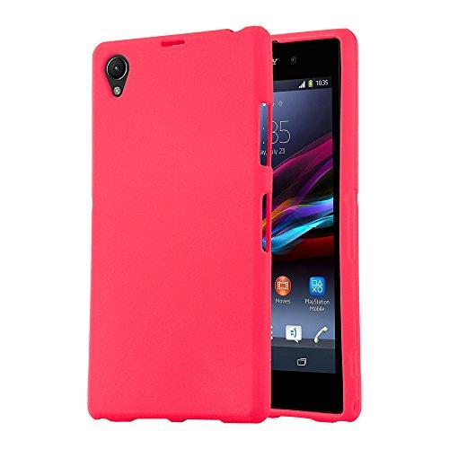 Cadorabo Funda para Sony Xperia Z1 Compact en Frost Rojo - Cubierta Proteccíon de Silicona TPU Delgada e Flexible con Antichoque - Gel Case Cover Carcasa Ligera