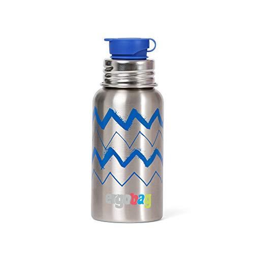 ERGOBAG Stainless Steel Drinking Bottle Trinkflasche, Jugend Unisex, Zig Zag (mehrfarbig), 0,5 l