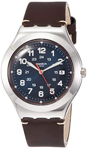 Swatch Reloj Analógico para Hombre de Cuarzo con Correa en Cuero YWS440