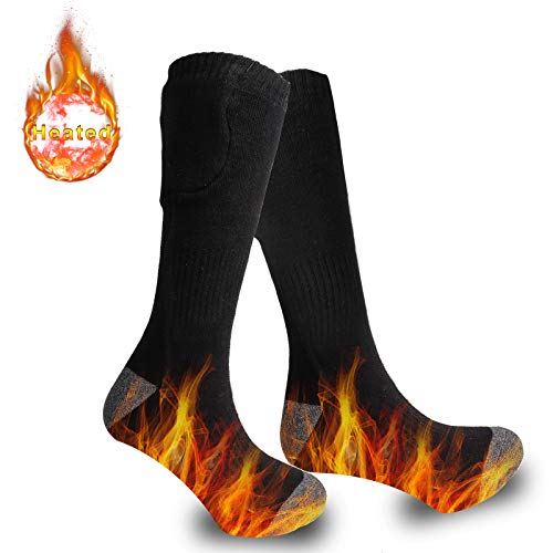 Achirarko 2019 Upgraded Heated Socks,Rechargeable and Washable Electric Heating Socks for Sport Outdoor Hunting Camping Hiking, Winter Socks Gift for Men & Women (Black)