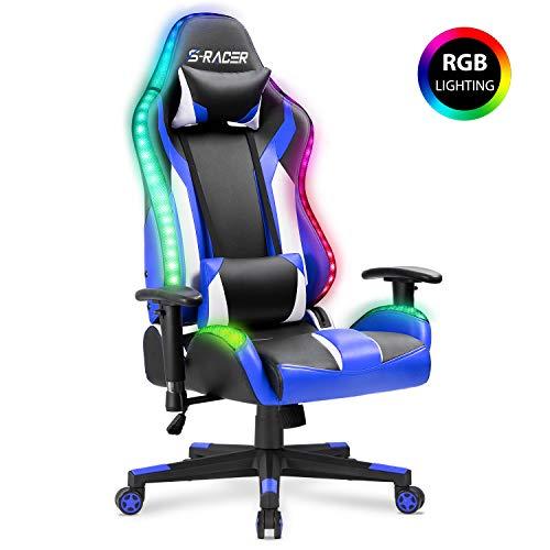Homall Gaming Chair RGB Lighting High Back Computer Chair PU Leather Desk...