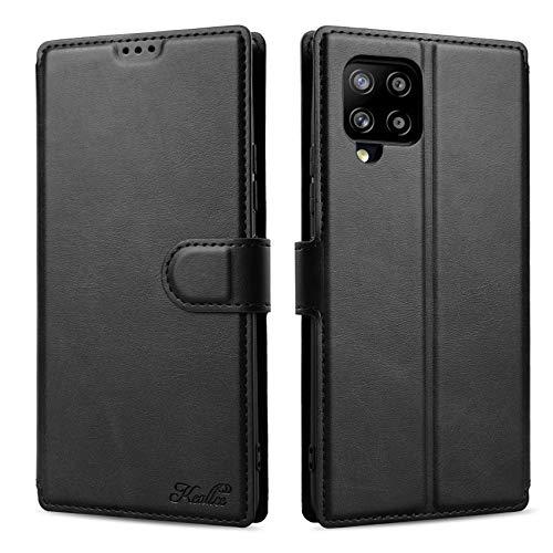 Keallce für Samsung Galaxy A42 5G Hülle, Handy Lederhülle PU Leder Hülle Brieftasche Handytasche Cover Kompatibel für Samsung Galaxy A42 5G Ledertasche-6.6 inch, Schwarz