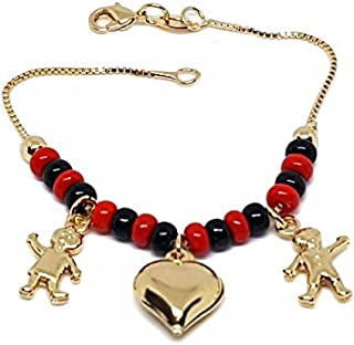 1-0988-f9 18kt Brazilian Gold Layered Kid's Elegua (Red and Black Bead) Charm Bracelet. 6 inches, 4.5mm. Beads.