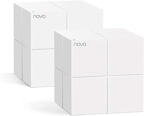 Tenda Nova MW6 - Router Mesh WiFi Solución Completa WLAN de Malla de Doble Banda (2 Estaciones, 4 Puertos Gigabit, MU-MIMO, hasta 330 m² ), pack 2
