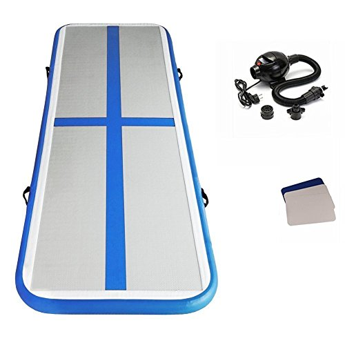 HIJOFUN Premium Air Track 13ftx3.3ftx4in Airtrack Gymnastics Tumbling Mat Inflatable Tumble Track with Electric Air Pump for Home Use//Gym//Yoga//Training//Cheerleading//Outdoor//Beach//Park Green