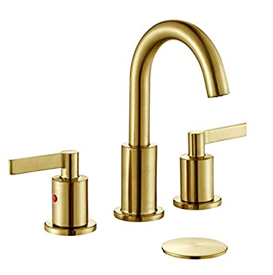 TimeArrow TAF830C-PB 2 Handle 8 inch Widespread Bathroom Sink Faucet with Pop-Up Drain, Brushed Gold