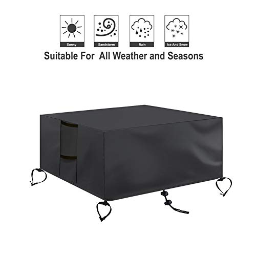 Fenghome Square Fire Pit Table Cover, Waterproof and Weather Resistant Heavy Duty Fabric with Adjustable Hem, fits Patio Garden Gas Fire Pit or Table up to 30 x 30 x 24 Inches, Black