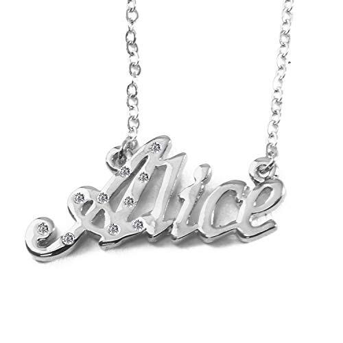 KL Alice - Collana placcata in oro bianco 18 carati, con nome personalizzabile, catena regolabile da 16'- 19', in confezione regalo