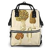 Bolsa de pañales vintage setas dibujos multifunción bolsas de pañales para el cuidado del bebé impermeable ancho abierto mochila de viaje para organización