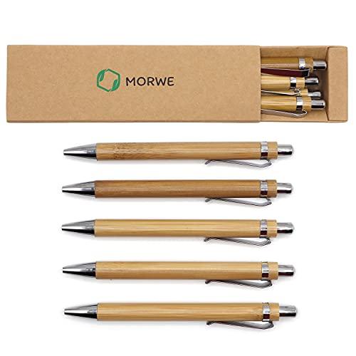 MORWE – Nachhaltiges Kugelschreiber Set/Edles Schreibset aus 5 Holz Kugelschreibern/Hochwertiger Bambus Kugelschreiber als nachhaltiges Geschenk für Kollegen, Freunde, Büro