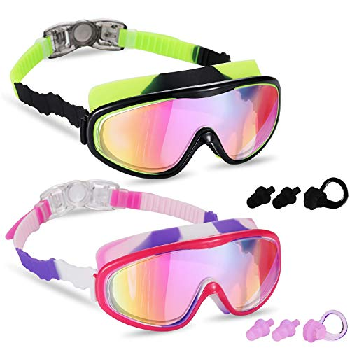 Yizerel 2 Pack Kids Swim Goggles, Swimming Glasses with Electroplating for...