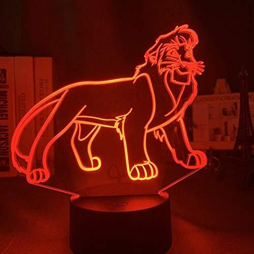 3D Night Light Light 3D Illusion Simba Lion King adapté pour chambre enfants anniversaire cadeau de Saint Valentin - noir Base_Scar
