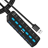 IVETTO Hub Splitter USB 3.0 Hub de datos USB con interruptores de alimentación LED individuales para portátil, PC, MacBook, Mac Pro, Mac Mini, iMac, Surface Pro y más dispositivos USB (7 puertos)