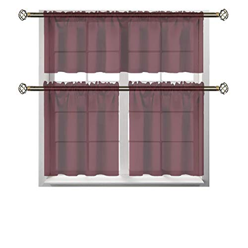 iDecorelife Kitchen Curtains and Valances Set - Home Kitchen Window Curtains - 1 pc 52x18 with 2 pc 25x24 Wine Red Kitchen Curtains