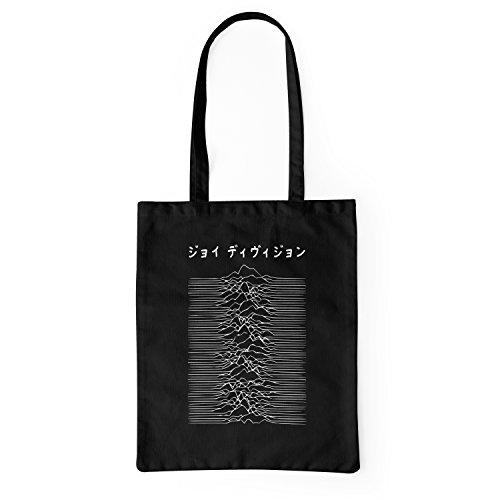 LaMAGLIERIA Borsa ecologica in tessuto Joy Division Japan White Logo - tote bag shopping bag in cotone