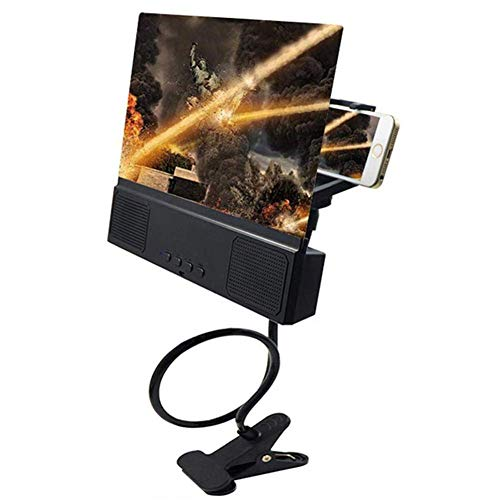 Lupa Lupa de pantalla de 12 pulgadas, Altavoz 3D Amplificador de películas para teléfonos móviles inteligentes con soporte para brazo perezoso, Proyector de teléfono portátil HD para todos los teléfo