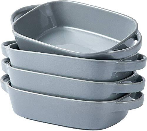 Ceramic Bakeware Set of 4 Rectangular Lasagna Pan Dish 9 x 5 Inch Gray Baking sheets Baking pans Sheet pans Baking dish Baking provides Baking sheets for oven Cookware set Baking air pans Baking sheet