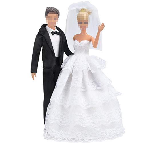 E-TING Princesa Vestido Noche Fiesta Encaje Blanco Vestido Fiesta Bordado Barbie Ropa de la Boda con Velo Traje Traje Traje Formal + Set para muñeca de Ken de Barbie