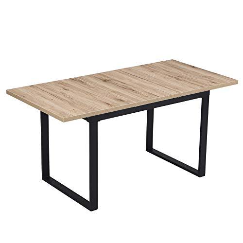 B&D home - Esstisch ausziehbar 120-160x80 cm | Holztisch in Sanremo Eiche | Kufengestell schwarz
