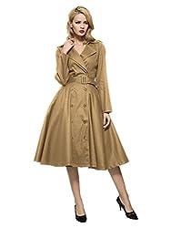 top 10 maggie tang vintage Maggie Tan Vintage Elegant Swing Coat Rockabilly Tunic Khaki Evening Dress XL