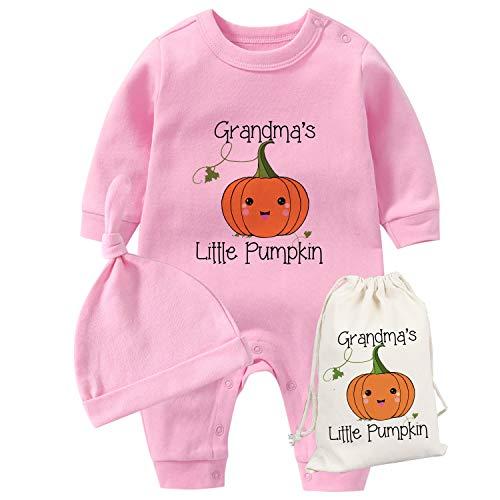 AOUYOA Mameluco de calabaza para bebés gemelos más lindos de la abuela de la calabaza, primer Halloween, recién nacido, recién nacido, unisex, disfraz de Halloween