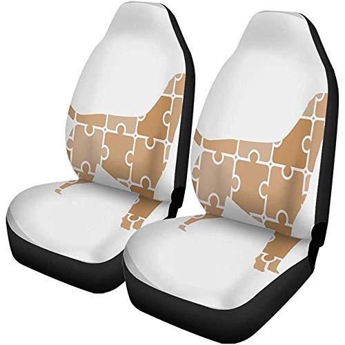 Stoelhoezen voor auto's, grappig, honden, puzzels, abstract, dieren, handwerk, knooponderhoud set met 2 accessoires.