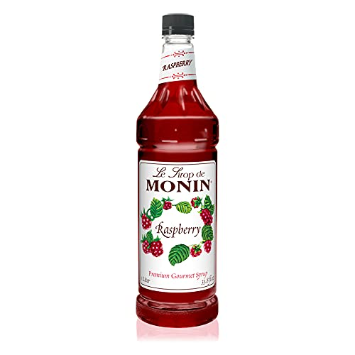 Monin - Raspberry Syrup, Sweet and Tart, Great for Cocktails and Lemonades, Gluten-Free, Non-GMO (1 Liter)