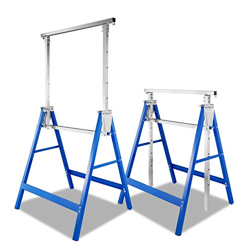 wolketon 2x Gerüstbock Arbeitsbock metall bis 250 kg/Paar Klappbock Gerüst Unterstellbock Stützbock höhenverstellbar von 80-130cm, mit Abrutschsicherung kratzfeste Kunststoffbeschichtung