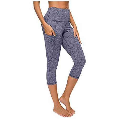 Andouy Damen Leggings High Waist Sporthose Yogahosen Yoga Capris Dreiviertel-Hosen mit Taschen(L.Lila)