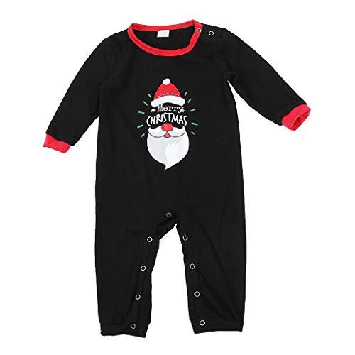 Neugeborene Baby Romper Weihnachten Cartoon Junge Mädchen Pyjamas Plaid Familie Strampler Jumpsuit, Schwarz-Baby, XL