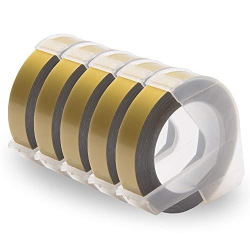 UniPlus 5x Kompatibel Prägeetiketten als Ersatz für Dymo Omega Junior Prägeband, 3D Langlebige Kunststoff Vinyl-Prägeetiketten 9mm x 3m Weiß auf Gold für Dymo Omega Junior Etikettenprägegerät