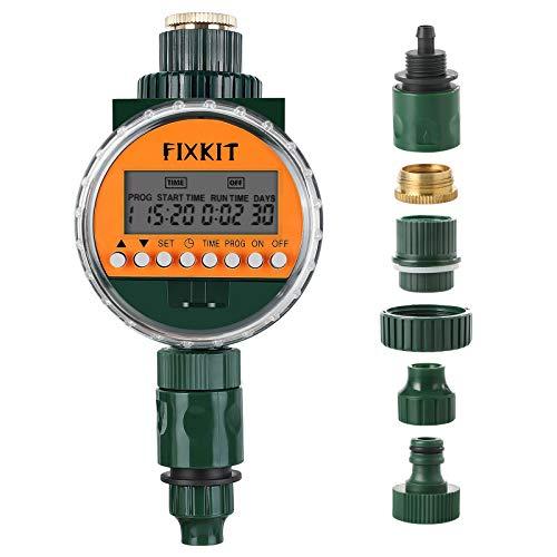 FIXKIT Digitaler Wassertimer mit Regensensor, Bewässerungsuhr IP68 Wasserdichter LCD Bildschirm, Bewässerungsprogramme bis zu 30 Tagen, ideal zur Blumenbewässerung, Rasenbewässerung usw