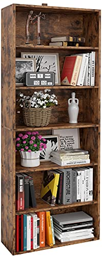 IRONCK Bookshelves and Bookcases Floor Standing 6 Tier Display Storage Shelves 70in Tall Bookcase Home Decor Furniture for Home Office, Living Room, Bed Room, Vintage Brown