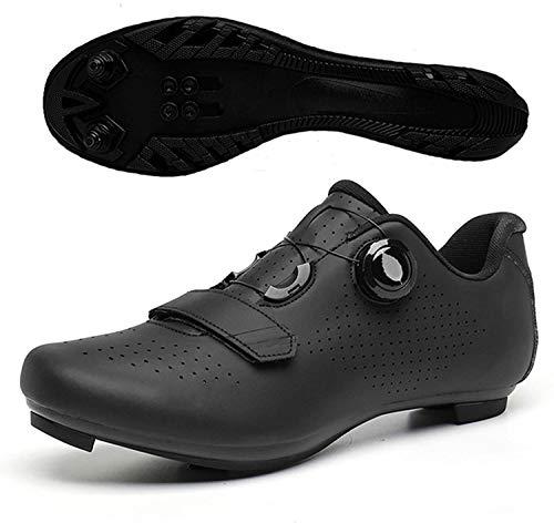 ZQW Zapatillas De Ciclismo Unisex, MTB Riving Riding Zapatillas Hebilla Pendiente Compatible Spinning SPD/SPD-SL - Transpirable (Color : Black B MTB, Tamaño : UK10.5/EU45/US11.5)