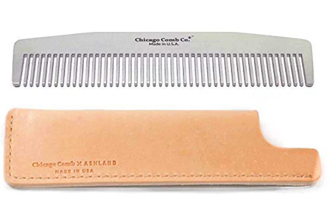 干渉する速い警官Chicago Comb No. 3 Stainless Steel + Horween Natural Leather Sheath, Made in USA, Ultra-Smooth, Durable, Anti-Static, 5.5 in. (14 cm), Medium-Fine Tines, Ultimate Daily Use Comb, Pocket Comb, Gift Set [並行輸入品]