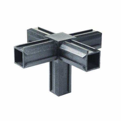 GAH-Alberts 426408 XD-Rohrverbinder - Kreuzstück und einem weiteren rechtwinkeligen Abgang, Kunststoff, schwarz, 20 x 20 x 1,5 mm
