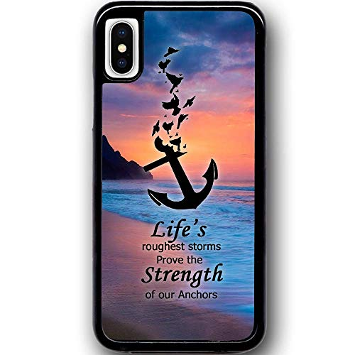 Cell World LLC - Anchor Nautical Ocean Ship Hard Rubber Phone Case for Apple iPhone XR Includes 1 Screen Protector