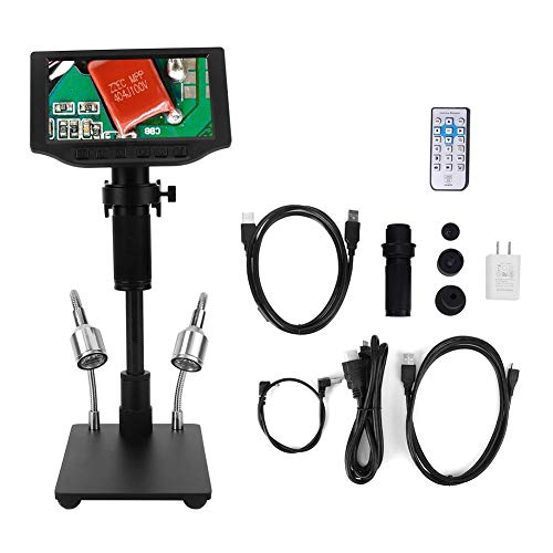Industrial Microscope, 16MP HD USB Electronic Video Microscope, 5in Display Screen, Professional Digital Microscope for Jewelry Identify and Phone Repair, 110V-240V(HY-5300)