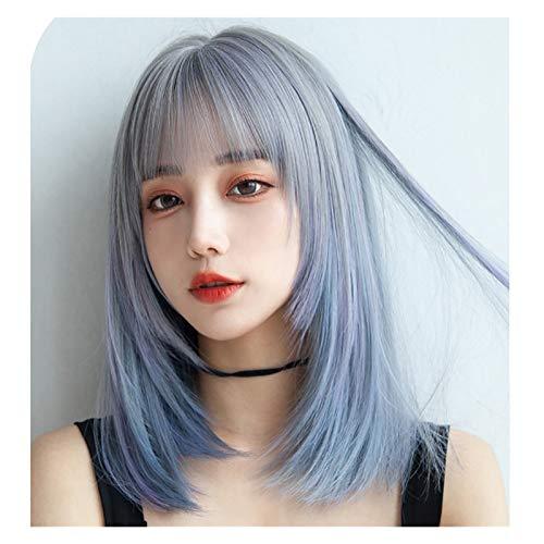 Perruque Naturel Femmes Blue Wig Girl Girl Perruques Courtes Cosplay Parti d'épaule Longueur Bangs Perruques Synthétiques Hair Heatine Résistant à la Chaleur Wig (Color : Blue)